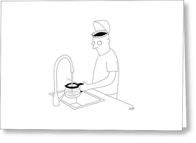 A Man Filling Up His Coffee Pot Greeting Card by Seth Fleishman