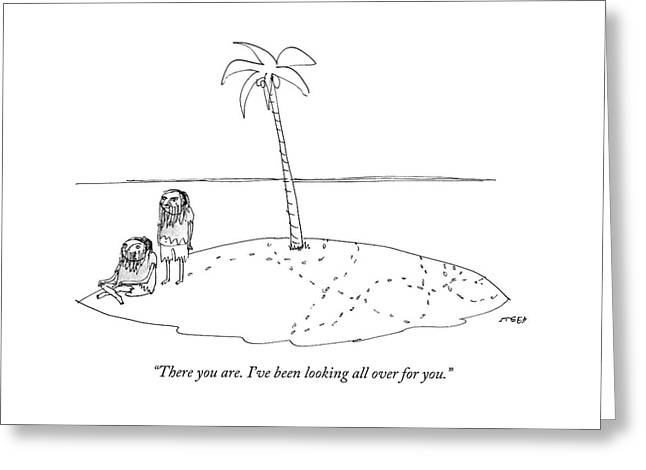 A Man Finally Finds Another Man On A Small Desert Greeting Card