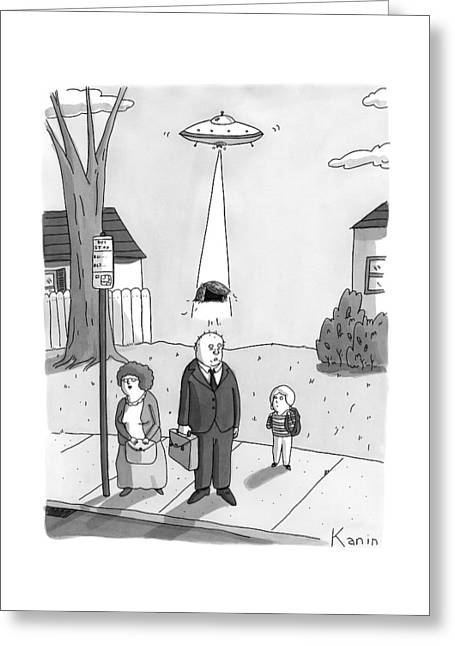 A Man Has His Toupee Abducted By Aliens Traveling Greeting Card