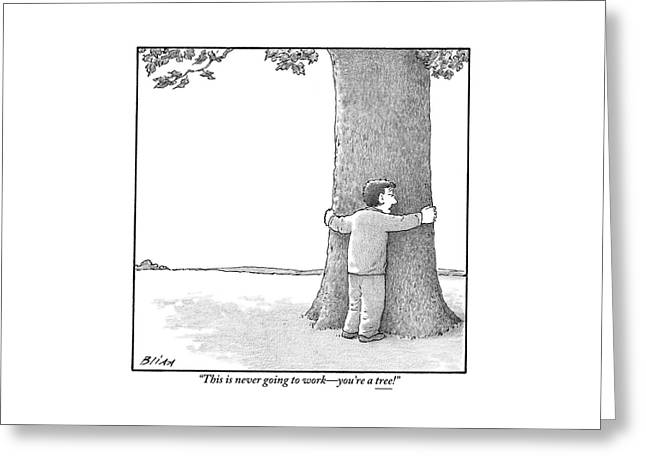 A Man Hugging A Tree Speaks To It Forlornly Greeting Card