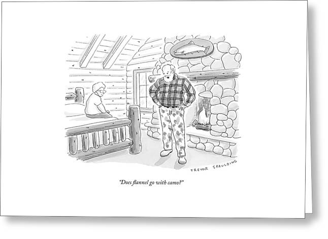 A Man In A Log Cabin Wears A Flannel Shirt Greeting Card by Trevor Spaulding
