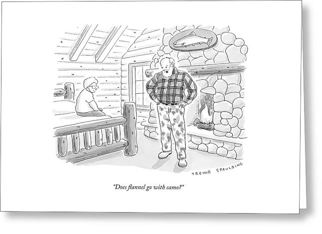 A Man In A Log Cabin Wears A Flannel Shirt Greeting Card