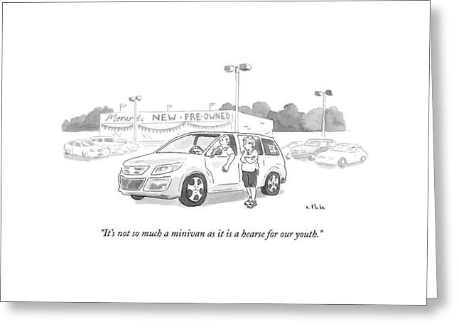 A Man In A Minivan Speaks To A Woman At A Car Greeting Card by Emily Flake
