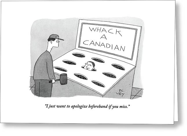A Man In A Whack A Canadian Machine Greeting Card