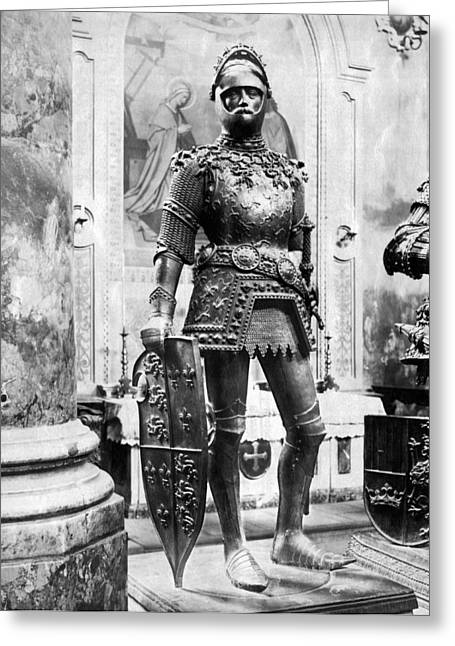 A Man In Knight's Armor Greeting Card by Underwood Archives
