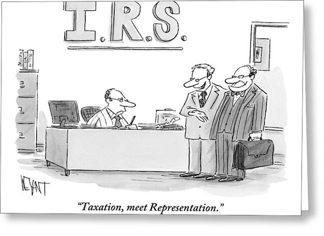 A Man Introduces A Lawyer To An Irs Agent Greeting Card
