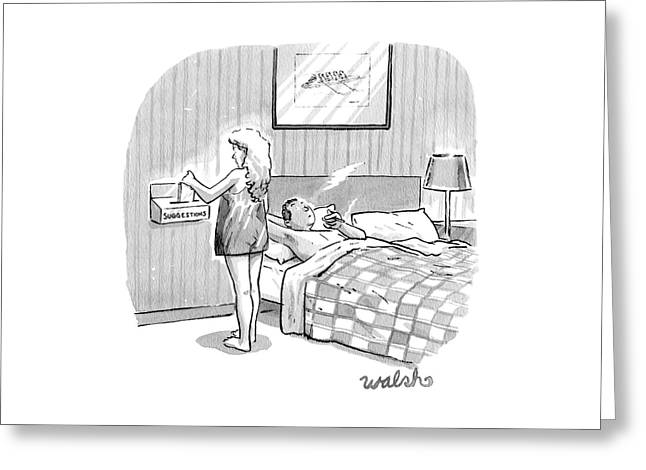 A Man Is In Bed Having A Post-sex Cigarette Greeting Card