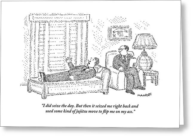 A Man Is Laying On The Psychiatrist's Couch Greeting Card