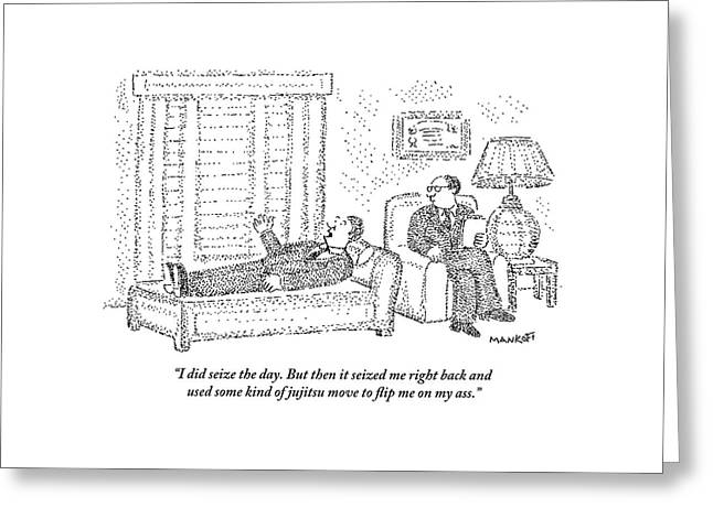 A Man Is Laying On The Psychiatrist's Couch Greeting Card by Robert Mankoff
