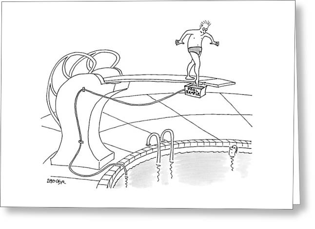 A Man Is On A Diving Board Above A Pool. He Dips Greeting Card