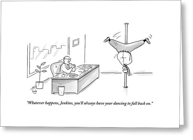 A Man Is Seen Pole Dancing In A Corporate Office Greeting Card