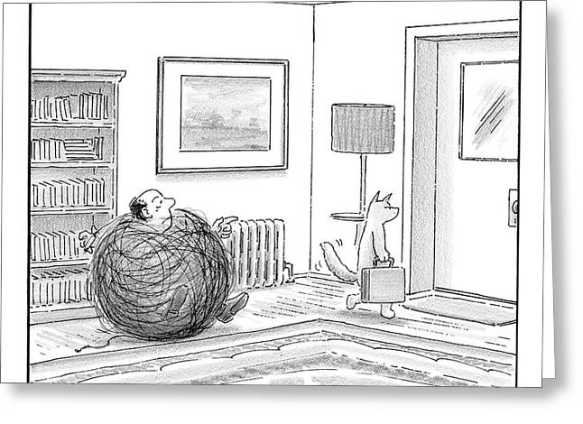A Man Is Stuck In A Yarn Ball And His Cat Leaves Greeting Card