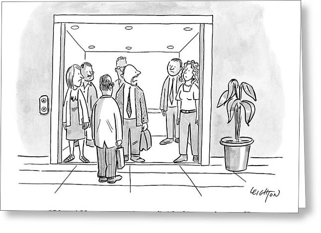 A Man Is Trying To Get In An Elevator With Six Greeting Card