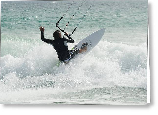 A Man Kitesurfing At Punta Paloma Beach Greeting Card by Ben Welsh