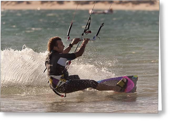 A Man Kitesurfing Tarifa, Cadiz Greeting Card by Ben Welsh