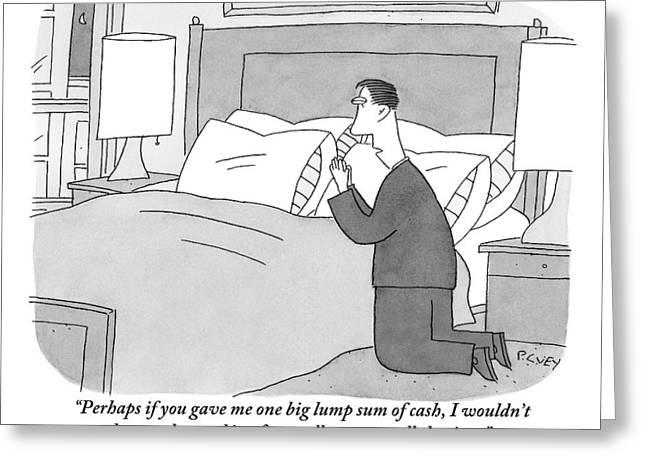 A Man Kneels Beside His Bed Greeting Card