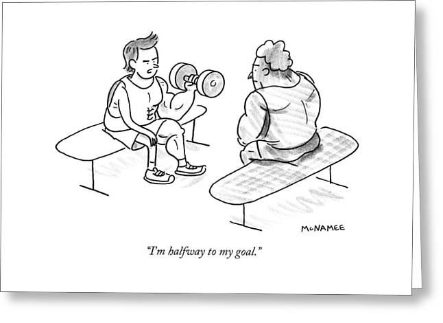 A Man Lifting Weights Greeting Card