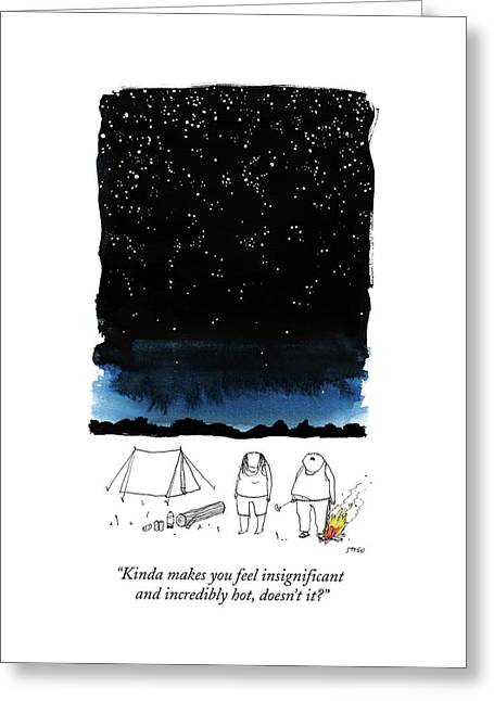 A Man Looks Up At The Night Sky Greeting Card