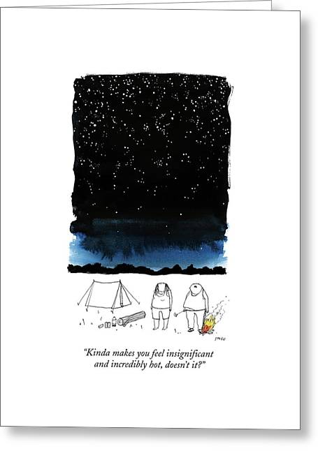 A Man Looks Up At The Night Sky Greeting Card by Edward Steed