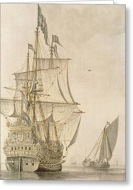 A Man-o-war Under Sail Seen From The Stern With A Boeiler Nearby Greeting Card by Cornelius Bouwmeester