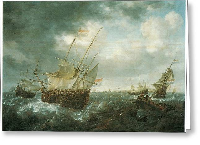 A Man-of-war Lowering Sails As A Storm Approaches Greeting Card by Jan Peeters