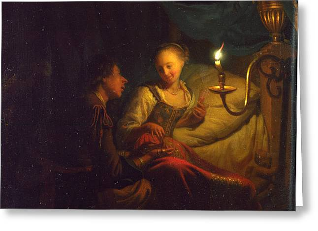A Man Offering Gold And Coins To A Girl Greeting Card by Godfried Schalcken