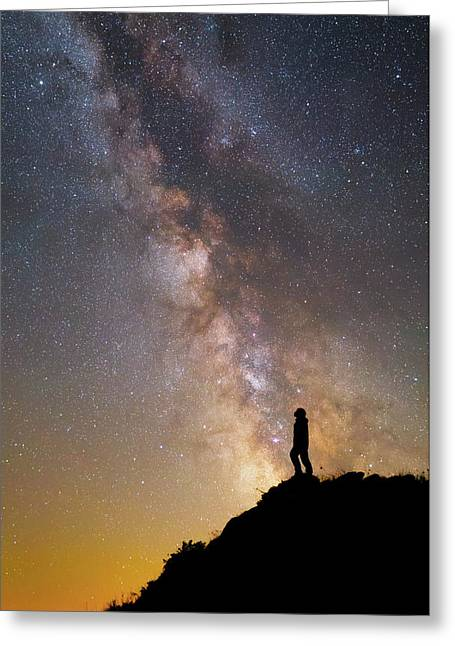 A Man On A Mountain Under The Milky Way Greeting Card