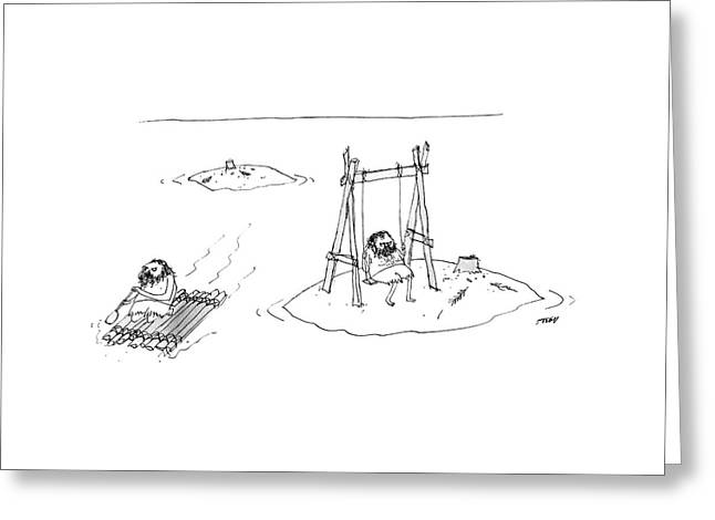 A Man On A Raft Paddles Away From A Desert Island Greeting Card by Edward Steed