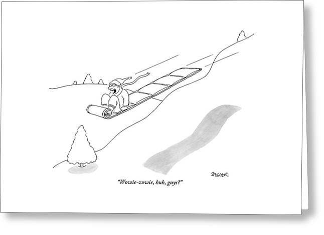 A Man On A Sled Greeting Card
