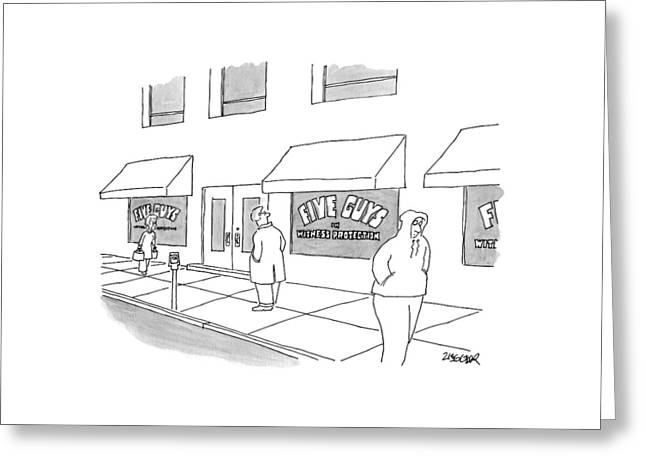 A Man On The Sidewalk Notices The Storefront Greeting Card by Jack Ziegler