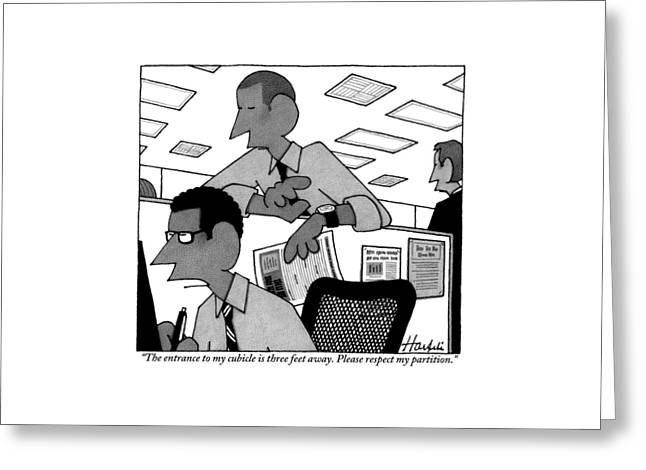 A Man Peers Over The Top Of Another Man's Office Greeting Card by William Haefeli