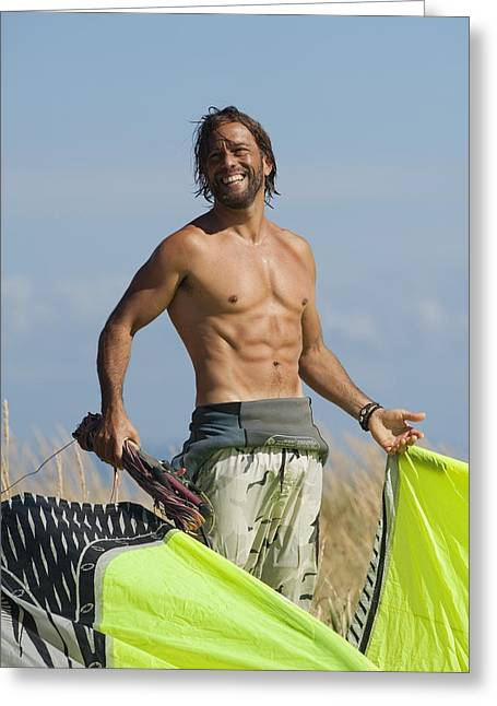 A Man Preparing To Kite Surf On Dos Greeting Card by Ben Welsh