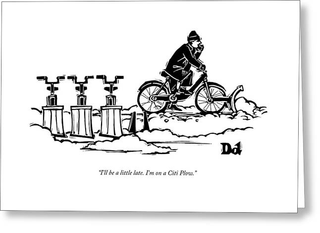 A Man Rides A Bicycle With A Snow Plow Attached Greeting Card