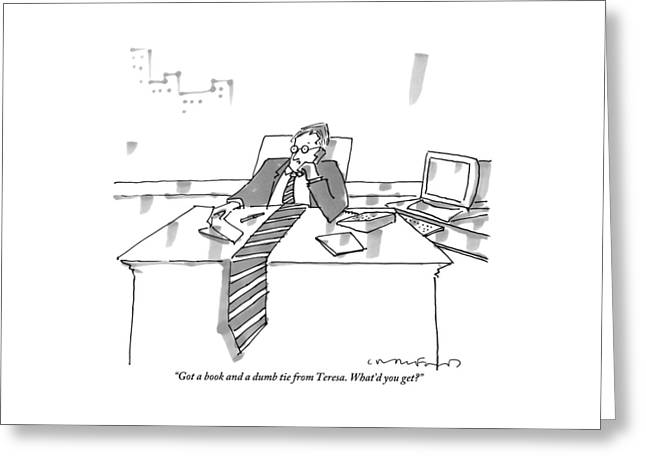 A Man Sits At His Office Desk On The Phone Greeting Card
