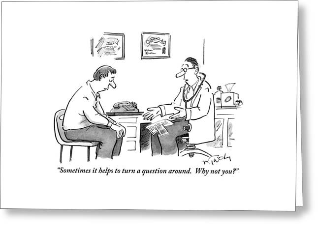 A Man Sits In A Doctor's Office Talking Greeting Card by Mike Twohy