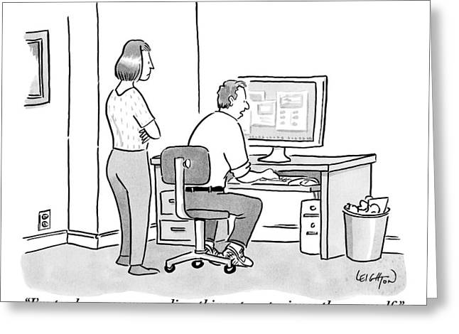 A Man Sits In Front Of His Computer. His Wife Or Greeting Card