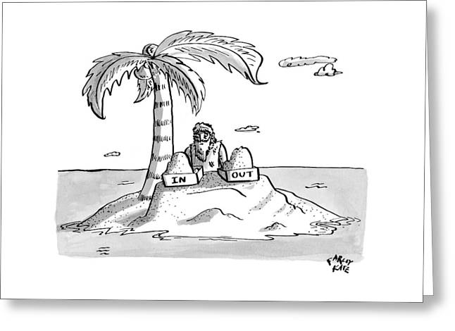 A Man Sits On A Deserted Island With Two Boxes: Greeting Card