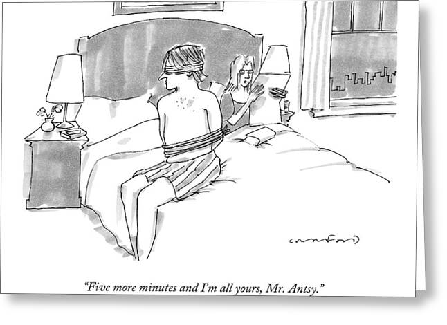 A Man Sits Tied Up In His Underwear On The Bed Greeting Card