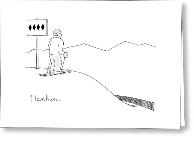 A Man Stands At The Top Of A Ski Slope Greeting Card by Charlie Hankin