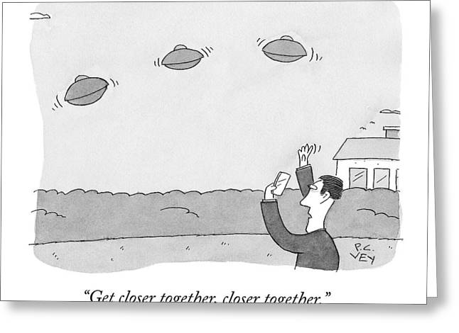 A Man Takes A Picture Of Ufo's Greeting Card