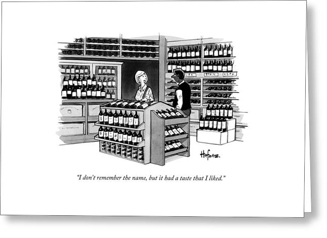 A Man Talking To An Employe At A Wine Store Greeting Card by Kaamran Hafeez