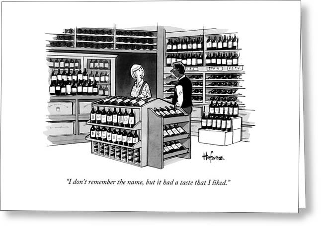A Man Talking To An Employe At A Wine Store Greeting Card