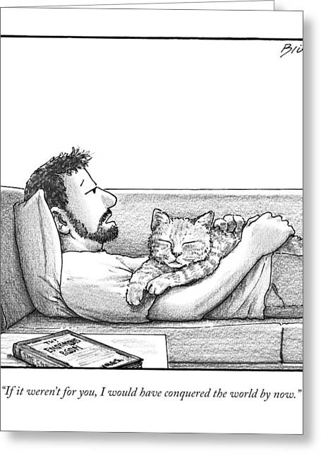 A Man Talking To The Cat Lying On His Stomach Greeting Card