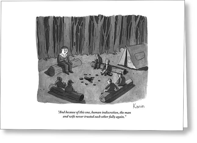 A Man Tells A Scary Story To Campers Greeting Card