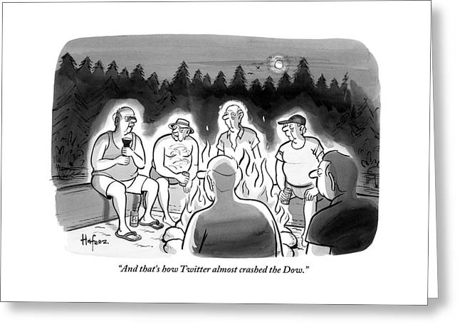 A Man Tells A Story Around A Campfire Greeting Card