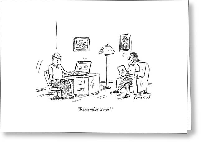A Man Using A Computer Speaks To A Woman Who Greeting Card by David Sipress