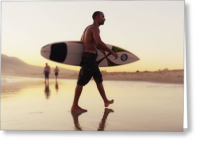 A Man Walking With His Surfboard On Greeting Card