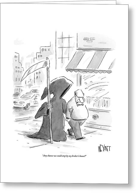 A Man Walks Down The Street With The Grim Reaper Greeting Card