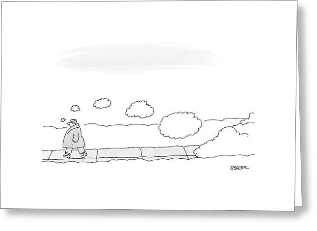 A Man Walks On The Sidewalk Trailing Thought Greeting Card by Jack Ziegler