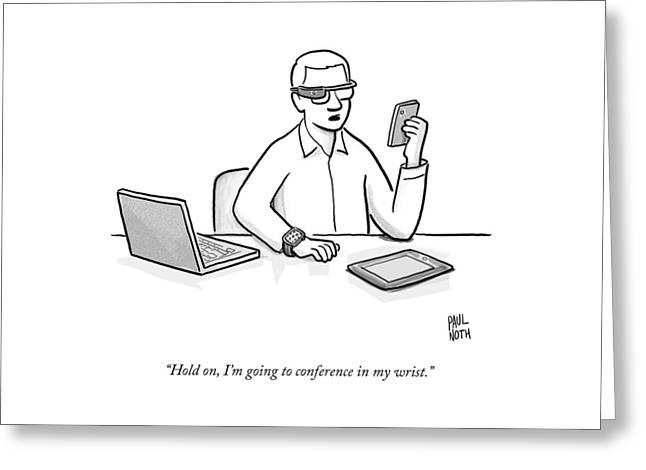 A Man Wearing Google Glasses Greeting Card